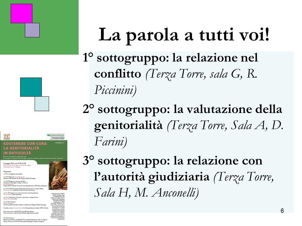 6 La parola a tutti voi! 1° sottogruppo: la relazione nel conflitto (Terza Torre, sala G, R. Piccinini) 2° sottogruppo: la valutazione della genitoria