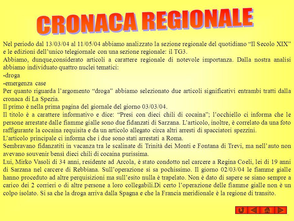 Nel periodo dal 13/03/04 al 11/05/04 abbiamo analizzato la sezione regionale del quotidiano Il Secolo XIX e le edizioni dellunico telegiornale con una
