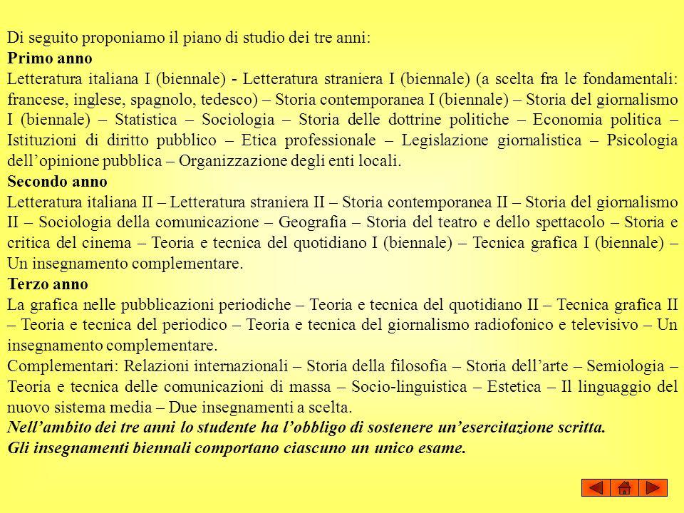Di seguito proponiamo il piano di studio dei tre anni: Primo anno Letteratura italiana I (biennale) - Letteratura straniera I (biennale) (a scelta fra