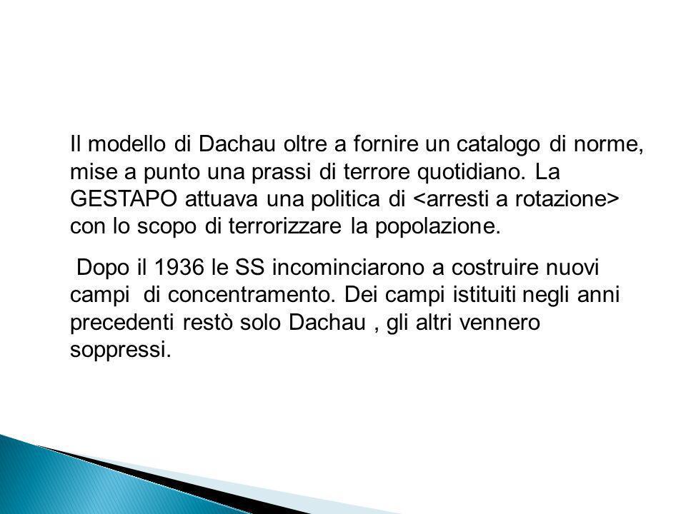 Tra il 1934 e il 1936 ci fu una migliore organizzazione dei LAGER. Il campo di Dachau non fu soltanto un importante centro di addestramento delle SS,