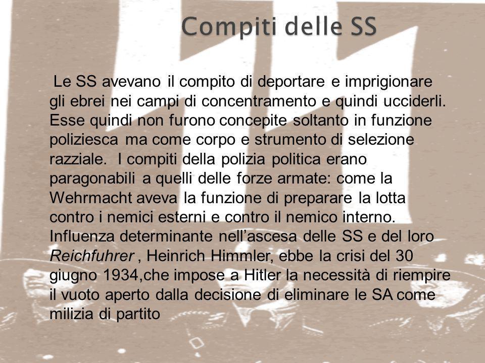 Le SS guidate da H. Himmler divennero la milizia del partito nazionalsocialista, organizzarono sistematicamente, in pace e in guerra, la repressione v