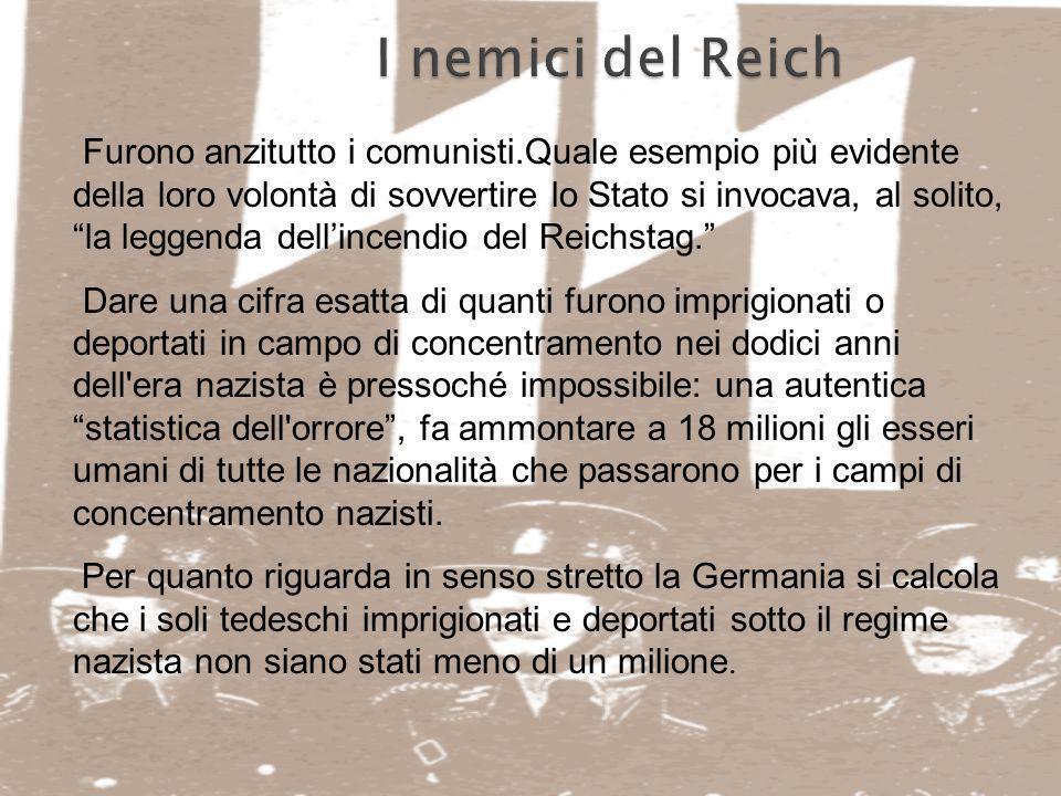 I nemici del Reich Furono anzitutto i comunisti.Quale esempio più evidente della loro volontà di sovvertire lo Stato si invocava, al solito, la leggen