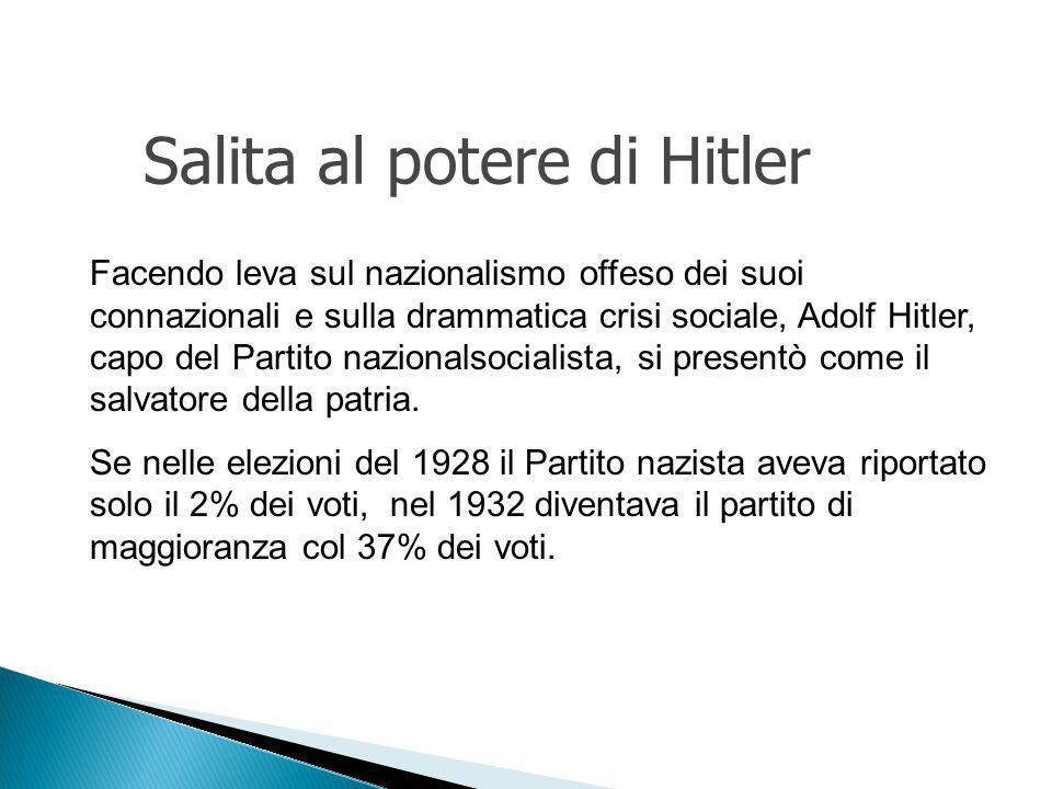 Facendo leva sul nazionalismo offeso dei suoi connazionali e sulla drammatica crisi sociale, Adolf Hitler, capo del Partito nazionalsocialista, si presentò come il salvatore della patria.