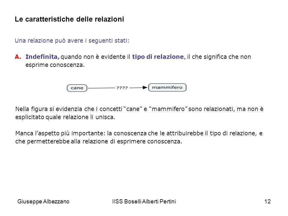 IISS Boselli Alberti Pertini12 Le caratteristiche delle relazioni Una relazione può avere i seguenti stati: A.Indefinita, quando non è evidente il tip