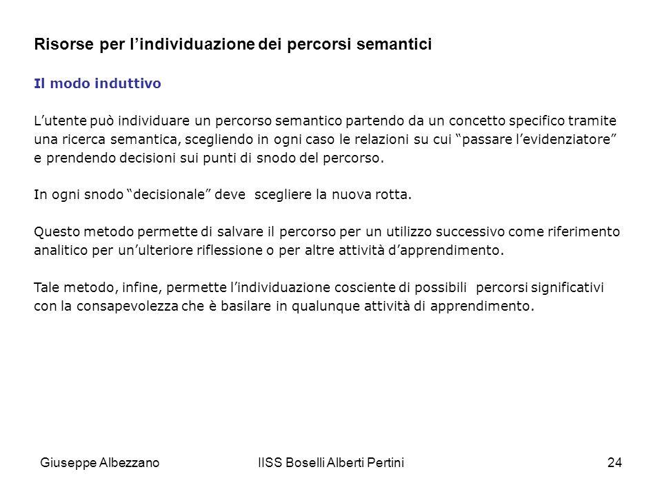 IISS Boselli Alberti Pertini24 Il modo induttivo Lutente può individuare un percorso semantico partendo da un concetto specifico tramite una ricerca s