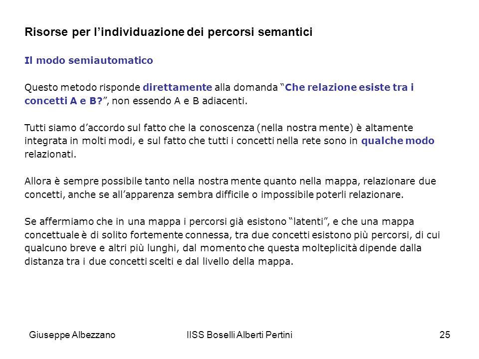 IISS Boselli Alberti Pertini25 Il modo semiautomatico Questo metodo risponde direttamente alla domanda Che relazione esiste tra i concetti A e B?, non