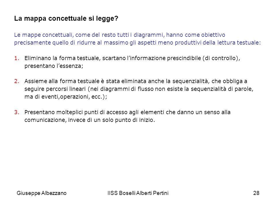 IISS Boselli Alberti Pertini28 Le mappe concettuali, come del resto tutti i diagrammi, hanno come obiettivo precisamente quello di ridurre al massimo