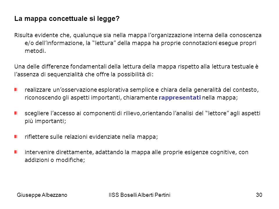 IISS Boselli Alberti Pertini30 Risulta evidente che, qualunque sia nella mappa lorganizzazione interna della conoscenza e/o dellinformazione, la lettu