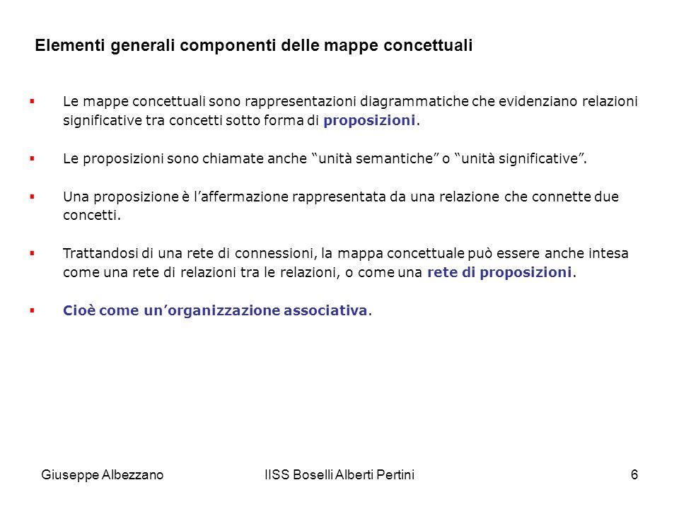 IISS Boselli Alberti Pertini6 Elementi generali componenti delle mappe concettuali Le mappe concettuali sono rappresentazioni diagrammatiche che evide