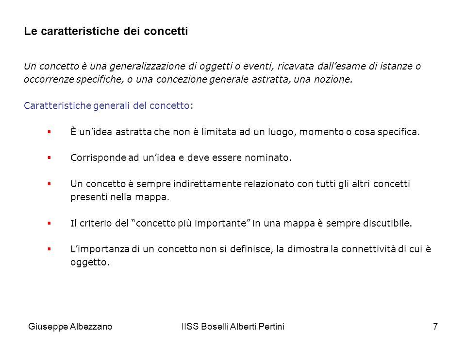 IISS Boselli Alberti Pertini7 Le caratteristiche dei concetti Un concetto è una generalizzazione di oggetti o eventi, ricavata dallesame di istanze o