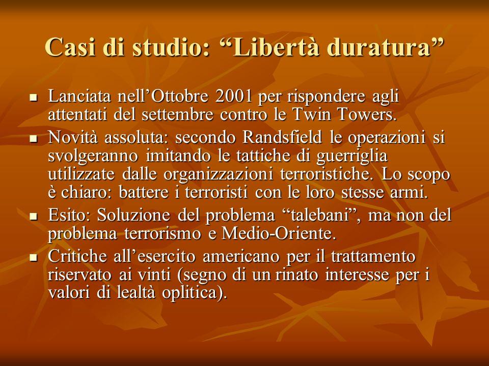 Casi di studio: Libertà duratura Lanciata nellOttobre 2001 per rispondere agli attentati del settembre contro le Twin Towers.
