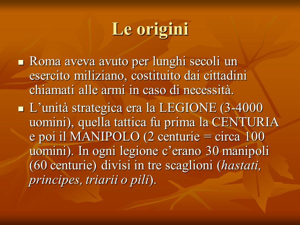 Le origini Roma aveva avuto per lunghi secoli un esercito miliziano, costituito dai cittadini chiamati alle armi in caso di necessità.