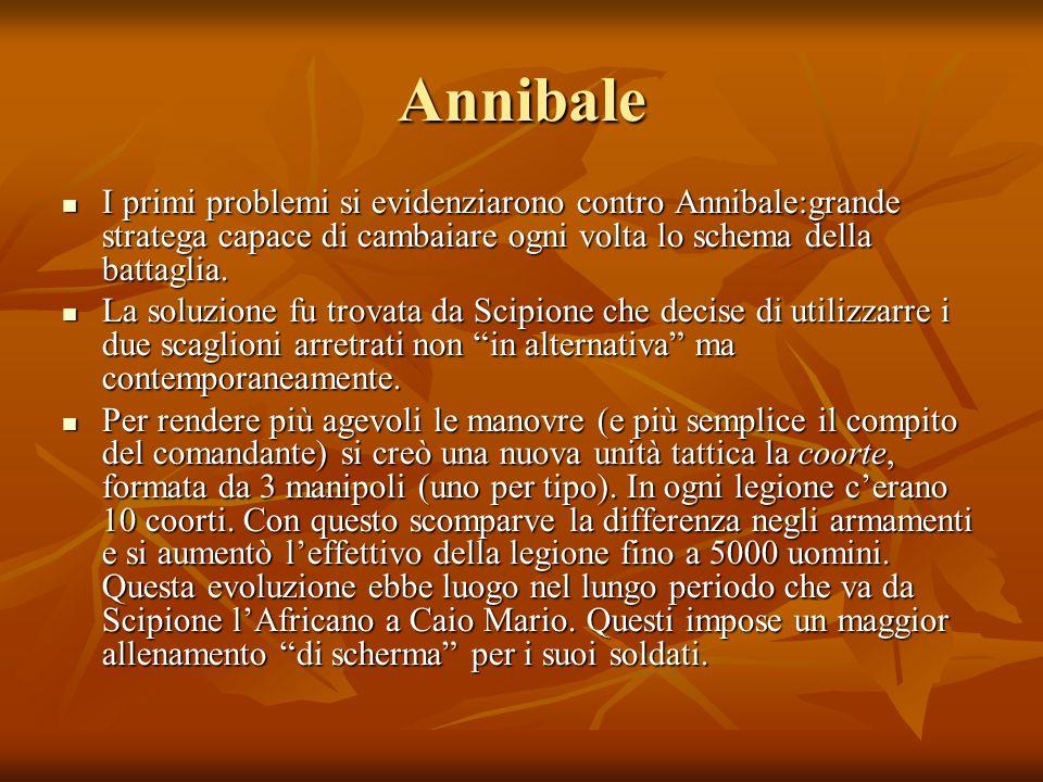 Annibale I primi problemi si evidenziarono contro Annibale:grande stratega capace di cambaiare ogni volta lo schema della battaglia.