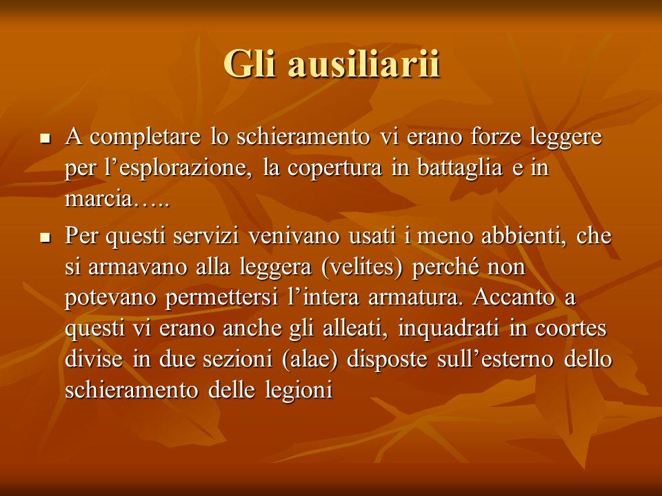 Gli ausiliarii A completare lo schieramento vi erano forze leggere per lesplorazione, la copertura in battaglia e in marcia…..