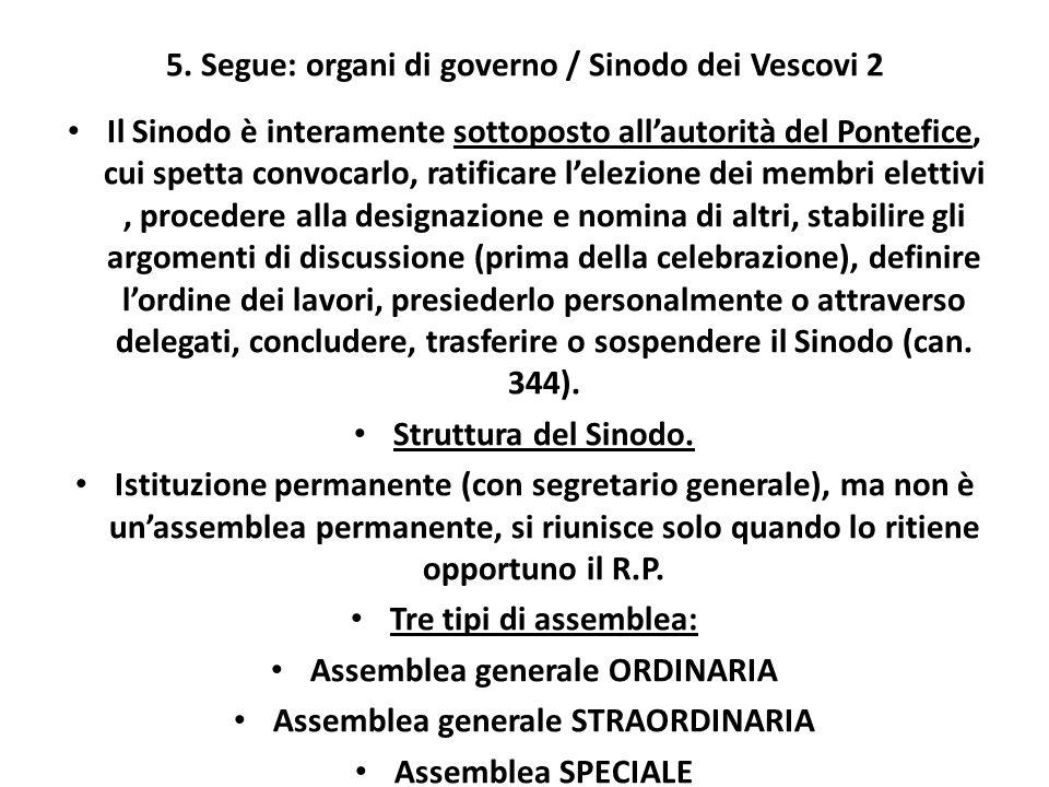 5. Segue: organi di governo / Sinodo dei Vescovi 2 Il Sinodo è interamente sottoposto allautorità del Pontefice, cui spetta convocarlo, ratificare lel
