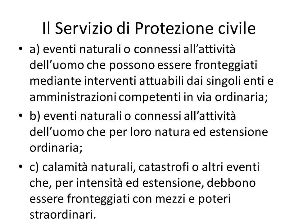 Il Servizio di Protezione civile a) eventi naturali o connessi allattività delluomo che possono essere fronteggiati mediante interventi attuabili dai