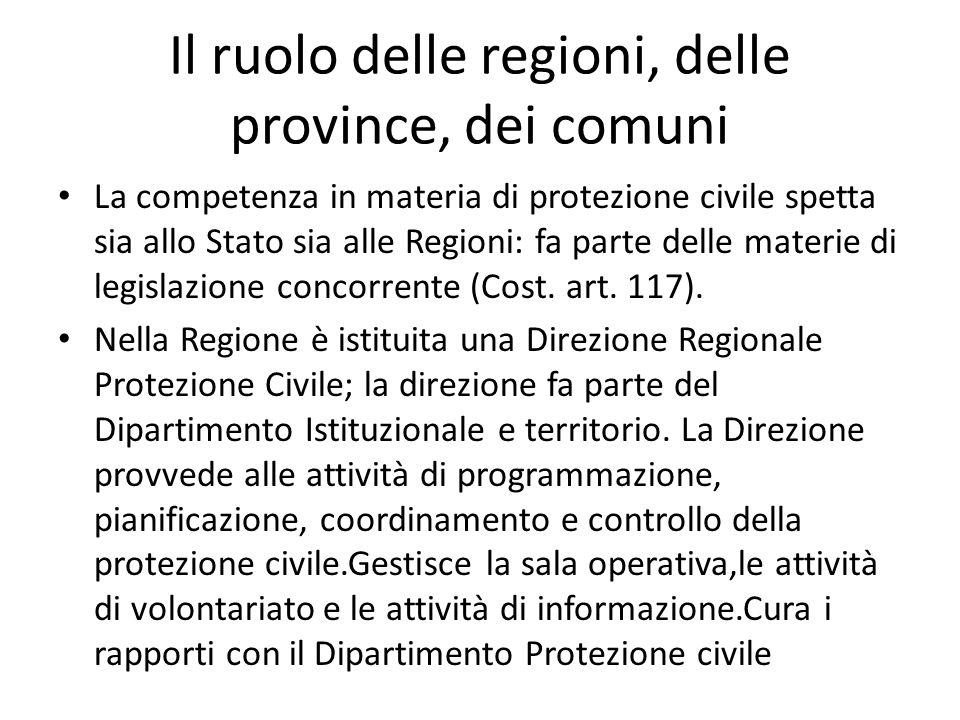 Il ruolo delle regioni, delle province, dei comuni La competenza in materia di protezione civile spetta sia allo Stato sia alle Regioni: fa parte dell