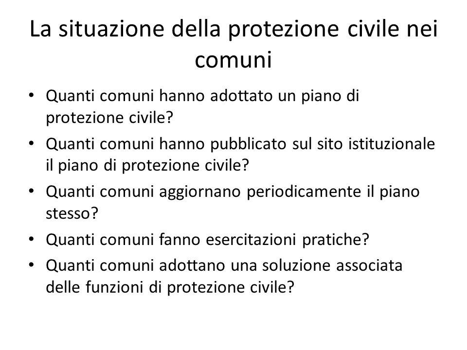 La situazione della protezione civile nei comuni Quanti comuni hanno adottato un piano di protezione civile? Quanti comuni hanno pubblicato sul sito i