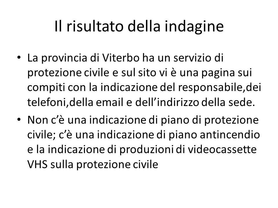 Il risultato della indagine La provincia di Viterbo ha un servizio di protezione civile e sul sito vi è una pagina sui compiti con la indicazione del