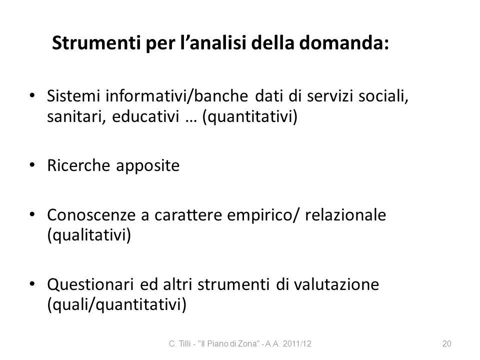 Strumenti per lanalisi della domanda: Sistemi informativi/banche dati di servizi sociali, sanitari, educativi … (quantitativi) Ricerche apposite Conos
