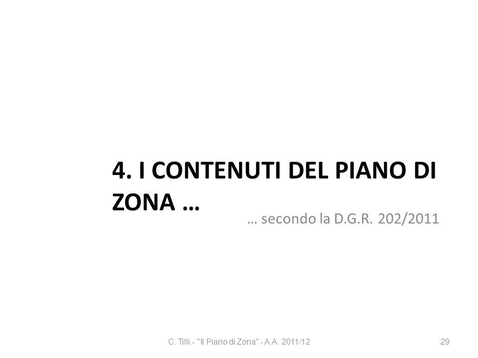 4. I CONTENUTI DEL PIANO DI ZONA … … secondo la D.G.R. 202/2011 C. Tilli -