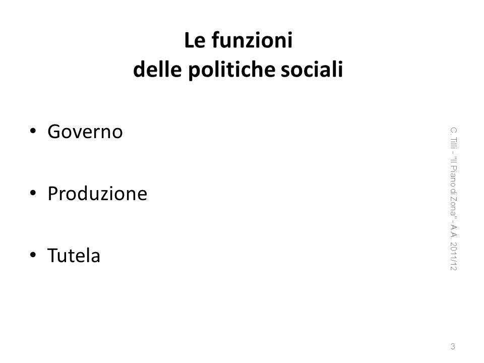 Le funzioni delle politiche sociali Governo Produzione Tutela C. Tilli -