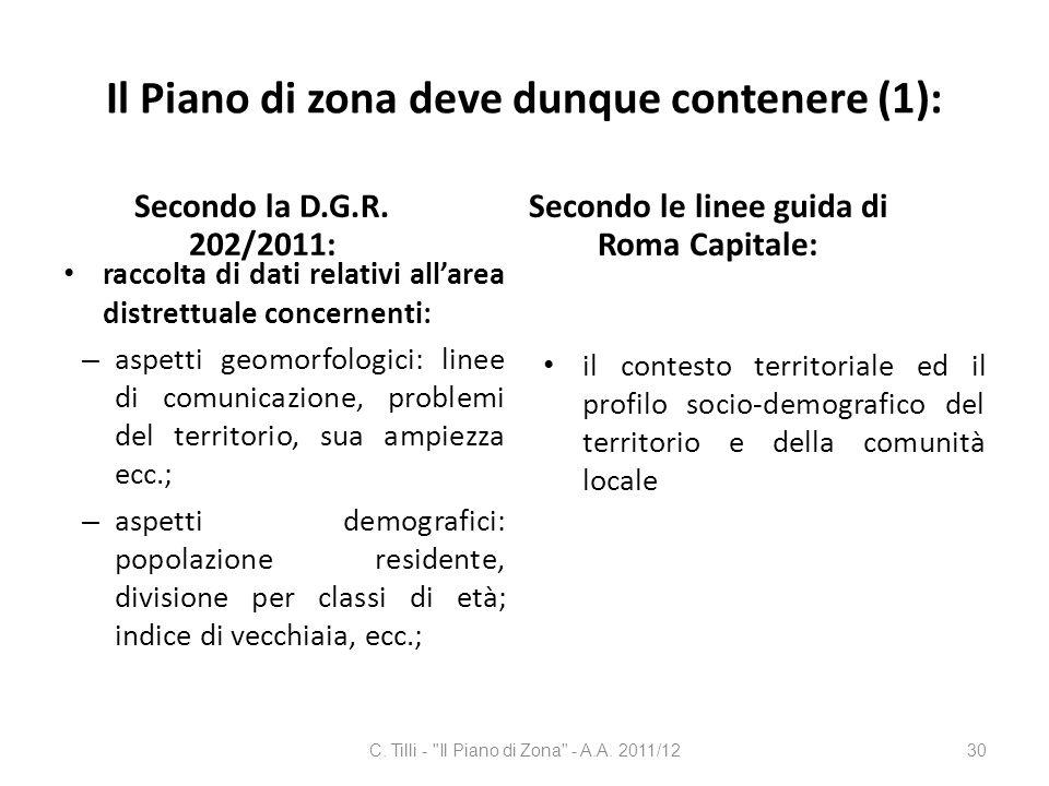 Il Piano di zona deve dunque contenere (1): Secondo la D.G.R. 202/2011: raccolta di dati relativi allarea distrettuale concernenti: – aspetti geomorfo