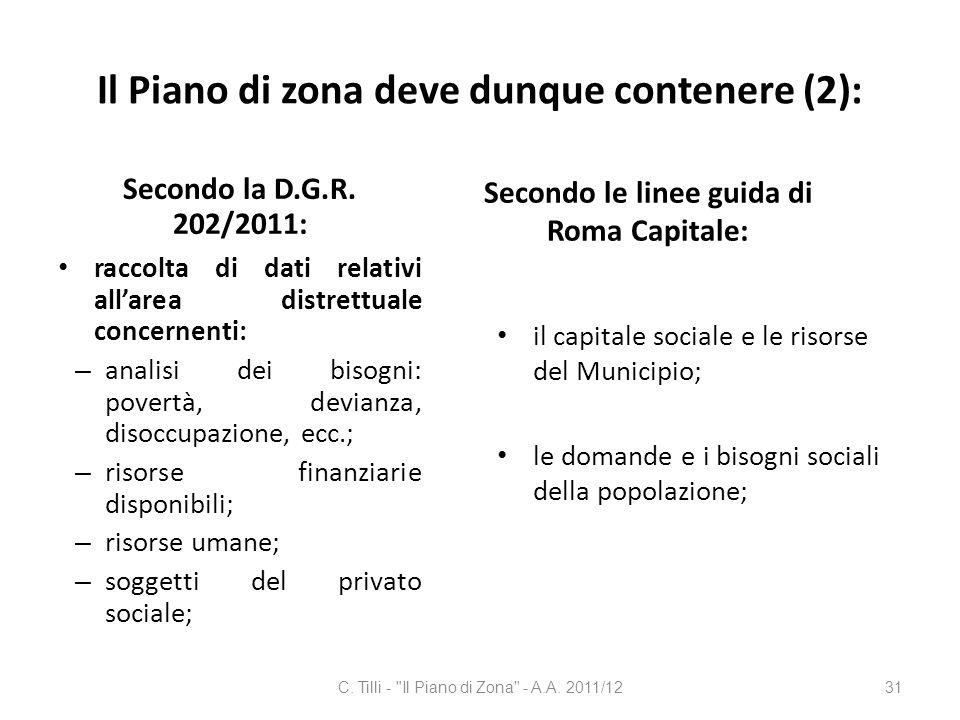 Il Piano di zona deve dunque contenere (2): Secondo la D.G.R. 202/2011: raccolta di dati relativi allarea distrettuale concernenti: – analisi dei biso