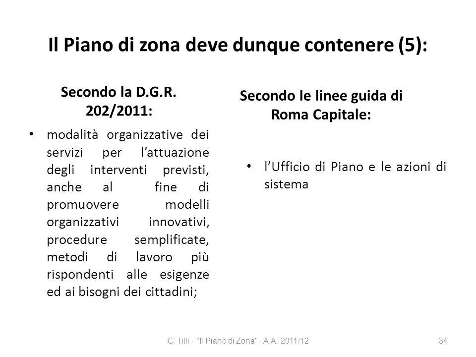 Il Piano di zona deve dunque contenere (5): Secondo la D.G.R. 202/2011: modalità organizzative dei servizi per lattuazione degli interventi previsti,