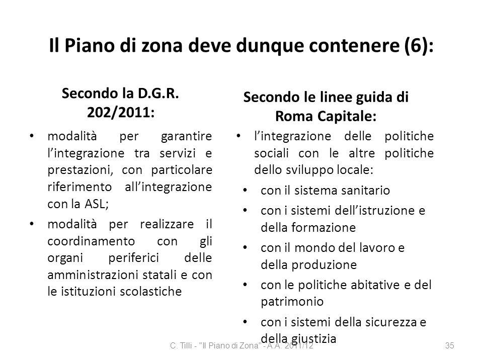 Il Piano di zona deve dunque contenere (6): Secondo la D.G.R. 202/2011: modalità per garantire lintegrazione tra servizi e prestazioni, con particolar