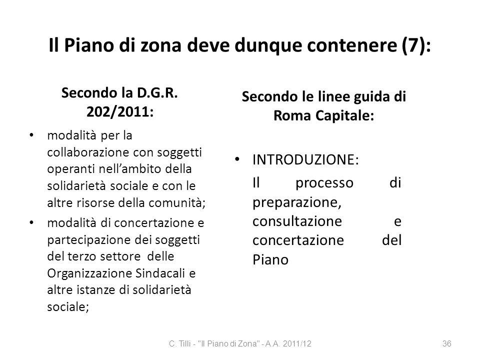Il Piano di zona deve dunque contenere (7): Secondo la D.G.R. 202/2011: modalità per la collaborazione con soggetti operanti nellambito della solidari