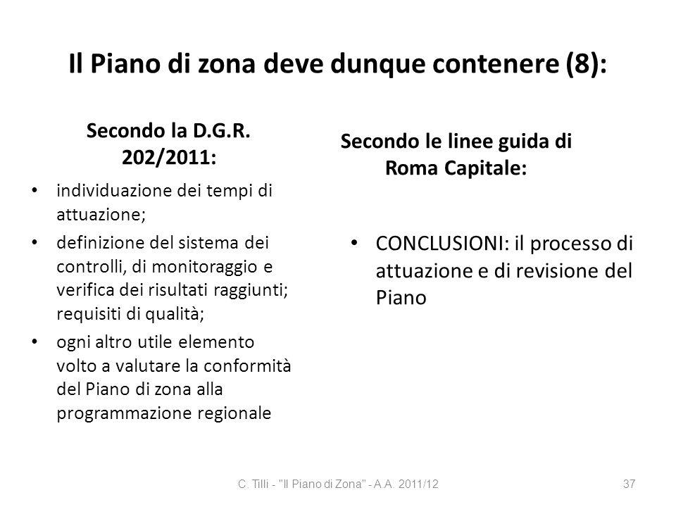 Il Piano di zona deve dunque contenere (8): Secondo la D.G.R. 202/2011: individuazione dei tempi di attuazione; definizione del sistema dei controlli,