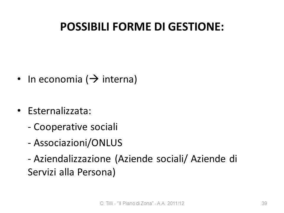 POSSIBILI FORME DI GESTIONE: In economia ( interna) Esternalizzata: - Cooperative sociali - Associazioni/ONLUS - Aziendalizzazione (Aziende sociali/ A