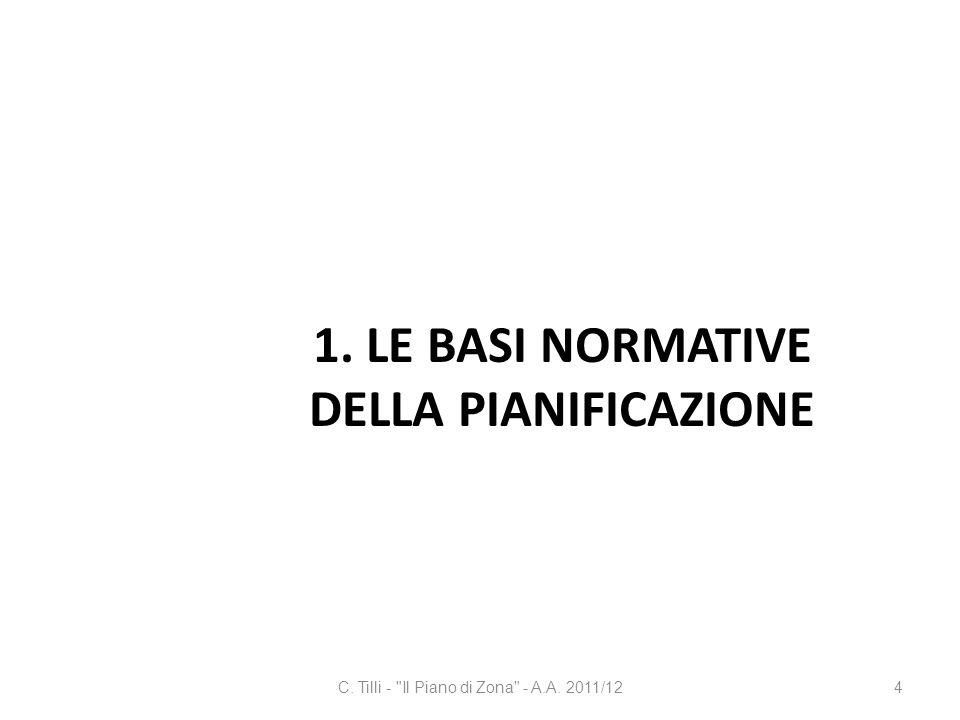 1. LE BASI NORMATIVE DELLA PIANIFICAZIONE C. Tilli -