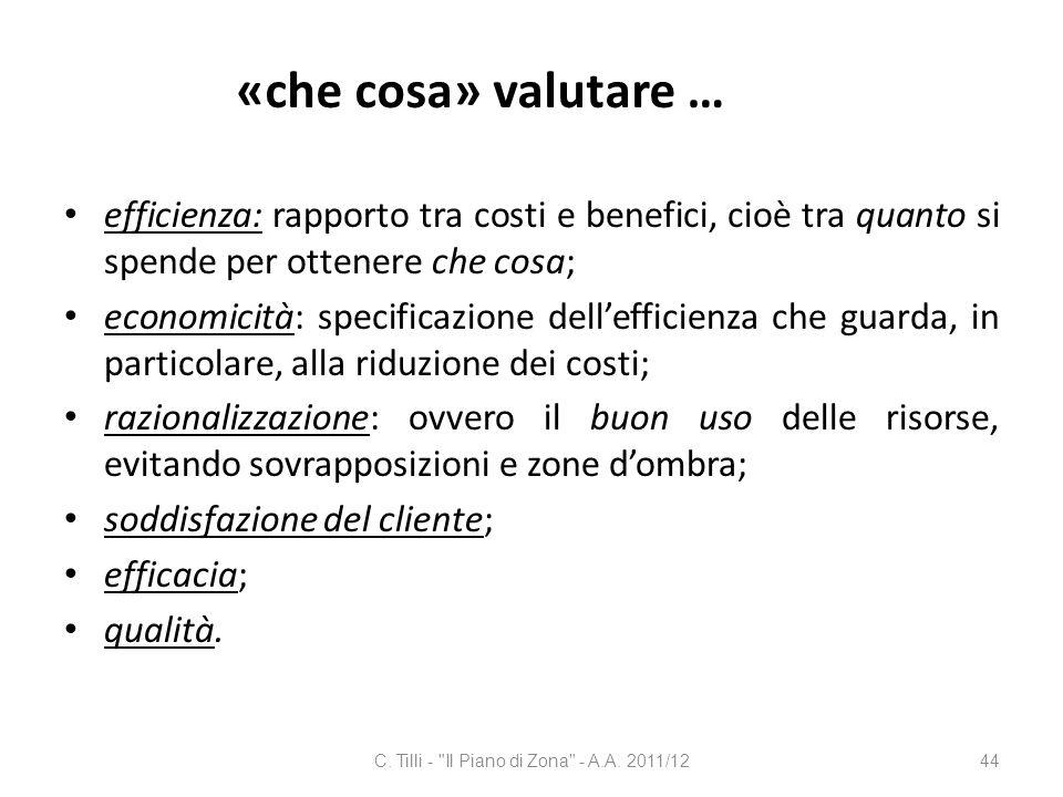 «che cosa» valutare … efficienza: rapporto tra costi e benefici, cioè tra quanto si spende per ottenere che cosa; economicità: specificazione delleffi