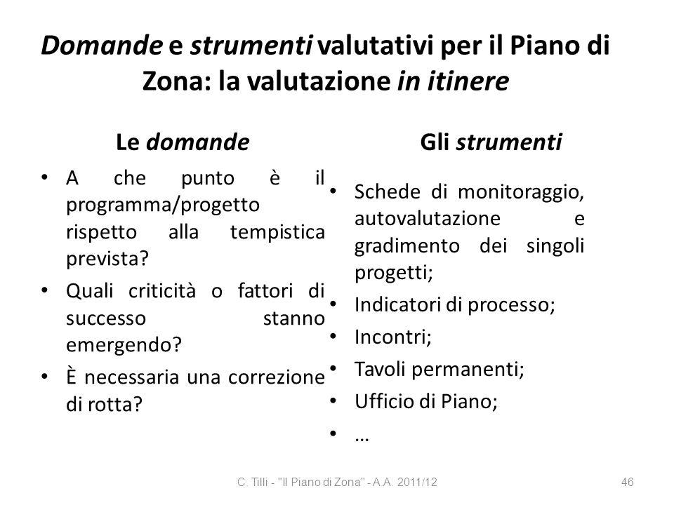 Domande e strumenti valutativi per il Piano di Zona: la valutazione in itinere Le domande A che punto è il programma/progetto rispetto alla tempistica