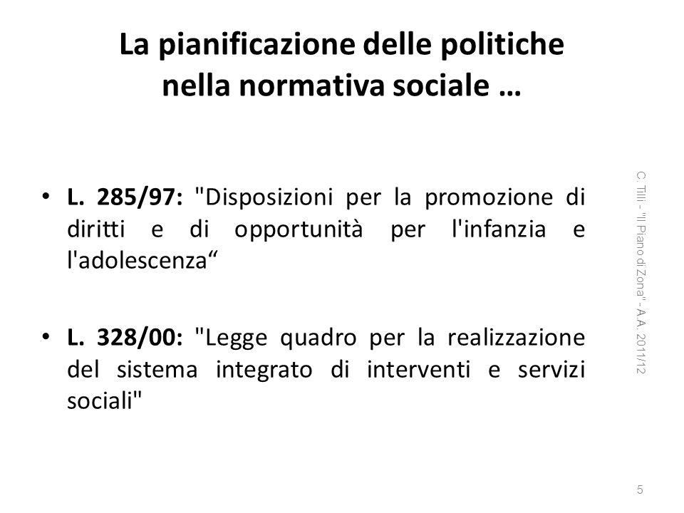 La pianificazione delle politiche nella normativa sociale … L. 285/97: