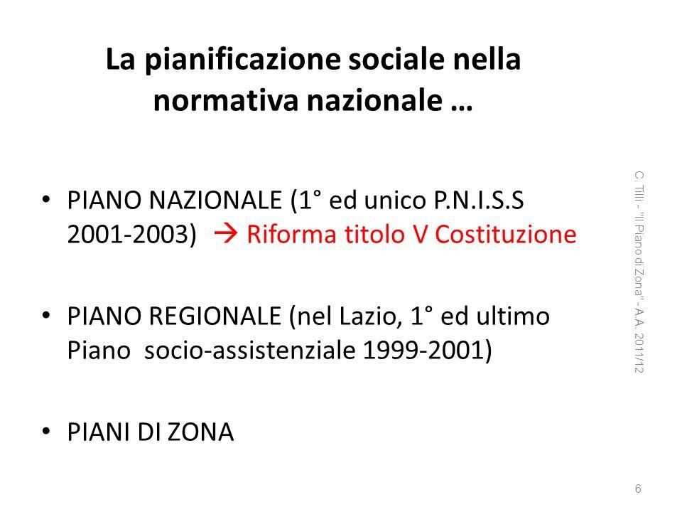 La pianificazione sociale nella normativa nazionale … PIANO NAZIONALE (1° ed unico P.N.I.S.S 2001-2003) Riforma titolo V Costituzione PIANO REGIONALE