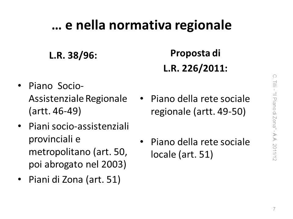 … e nella normativa regionale L.R. 38/96: Piano Socio- Assistenziale Regionale (artt. 46-49) Piani socio-assistenziali provinciali e metropolitano (ar