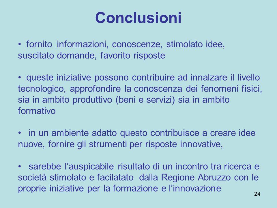 Conclusioni fornito informazioni, conoscenze, stimolato idee, suscitato domande, favorito risposte queste iniziative possono contribuire ad innalzare il livello tecnologico, approfondire la conoscenza dei fenomeni fisici, sia in ambito produttivo (beni e servizi) sia in ambito formativo in un ambiente adatto questo contribuisce a creare idee nuove, fornire gli strumenti per risposte innovative, sarebbe lauspicabile risultato di un incontro tra ricerca e società stimolato e facilatato dalla Regione Abruzzo con le proprie iniziative per la formazione e linnovazione 24