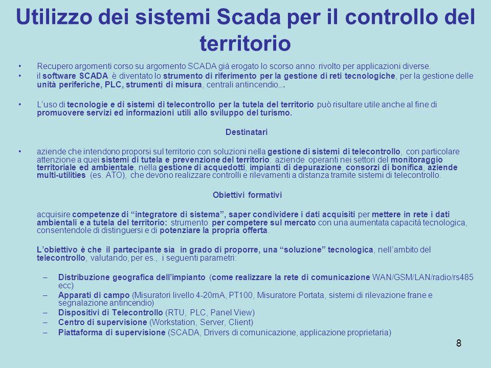Utilizzo dei sistemi Scada per il controllo del territorio Recupero argomenti corso su argomento SCADA già erogato lo scorso anno: rivolto per applicazioni diverse.