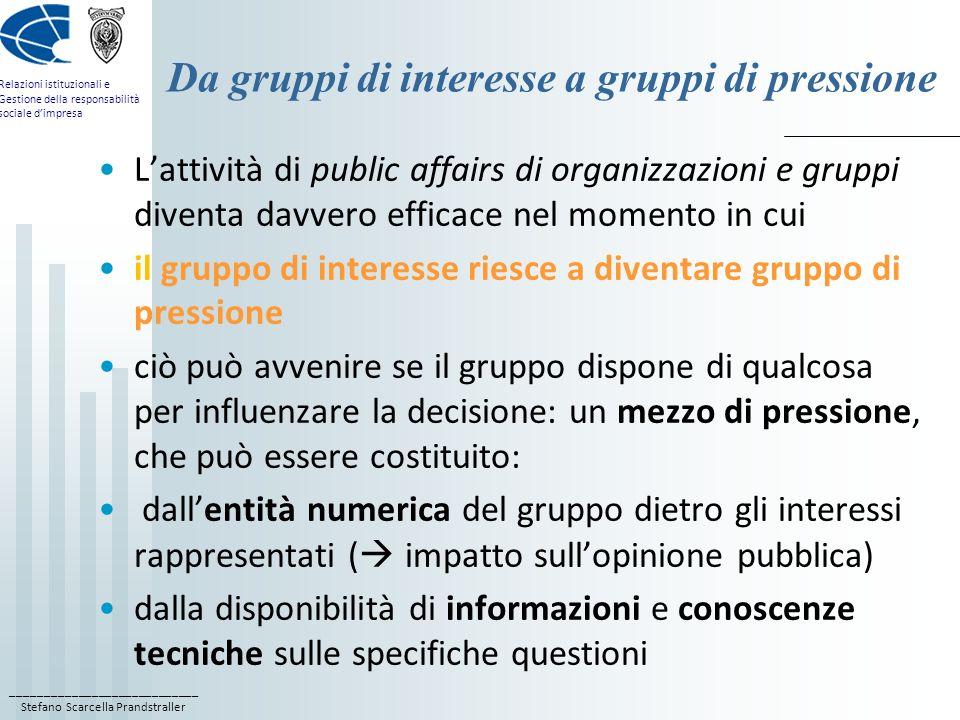 ____________________________ Stefano Scarcella Prandstraller Relazioni istituzionali e Gestione della responsabilità sociale dimpresa Da gruppi di int