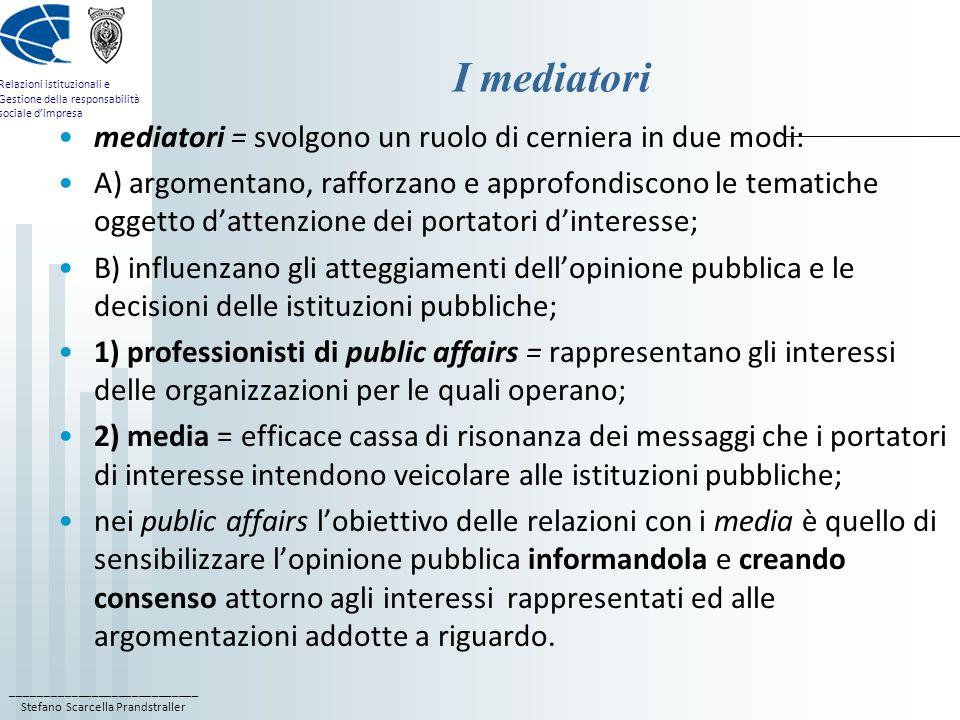 ____________________________ Stefano Scarcella Prandstraller Relazioni istituzionali e Gestione della responsabilità sociale dimpresa I mediatori medi