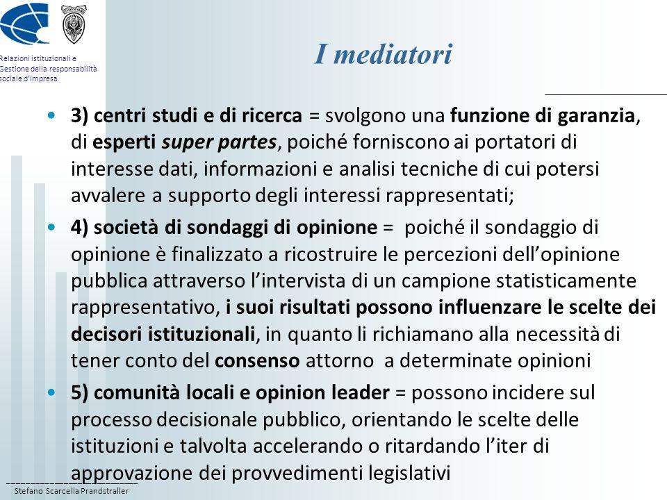 ____________________________ Stefano Scarcella Prandstraller Relazioni istituzionali e Gestione della responsabilità sociale dimpresa I mediatori 3) c