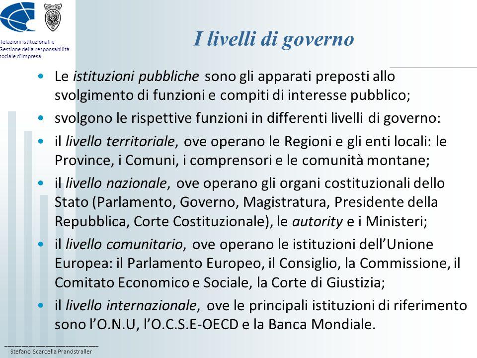 ____________________________ Stefano Scarcella Prandstraller Relazioni istituzionali e Gestione della responsabilità sociale dimpresa I livelli di gov