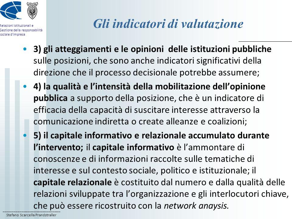 ____________________________ Stefano Scarcella Prandstraller Relazioni istituzionali e Gestione della responsabilità sociale dimpresa Gli indicatori d