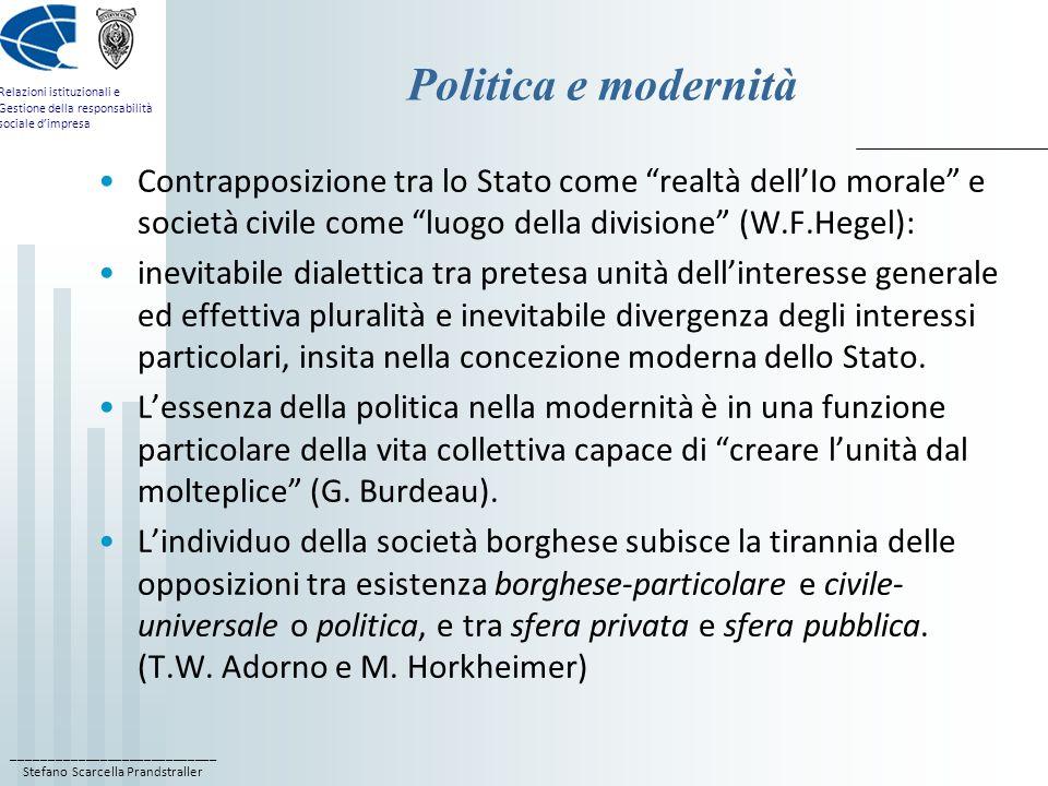 ____________________________ Stefano Scarcella Prandstraller Relazioni istituzionali e Gestione della responsabilità sociale dimpresa Politica e moder