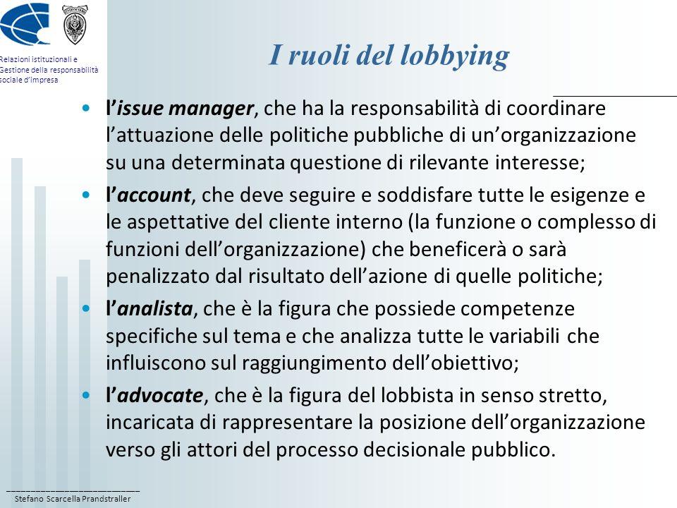 ____________________________ Stefano Scarcella Prandstraller Relazioni istituzionali e Gestione della responsabilità sociale dimpresa I ruoli del lobb