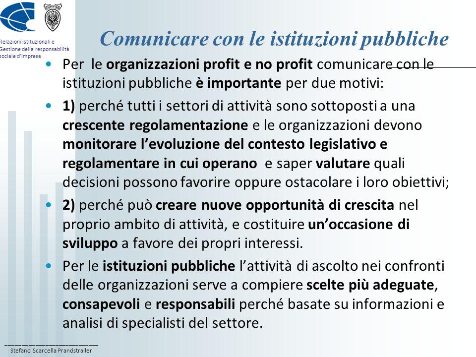 ____________________________ Stefano Scarcella Prandstraller Relazioni istituzionali e Gestione della responsabilità sociale dimpresa Comunicare con l