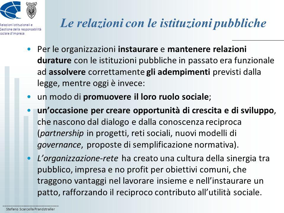 ____________________________ Stefano Scarcella Prandstraller Relazioni istituzionali e Gestione della responsabilità sociale dimpresa Le relazioni con